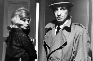 Monique Hennessy and Jean-Paul Belmondo in Jean-Pierre Melville'